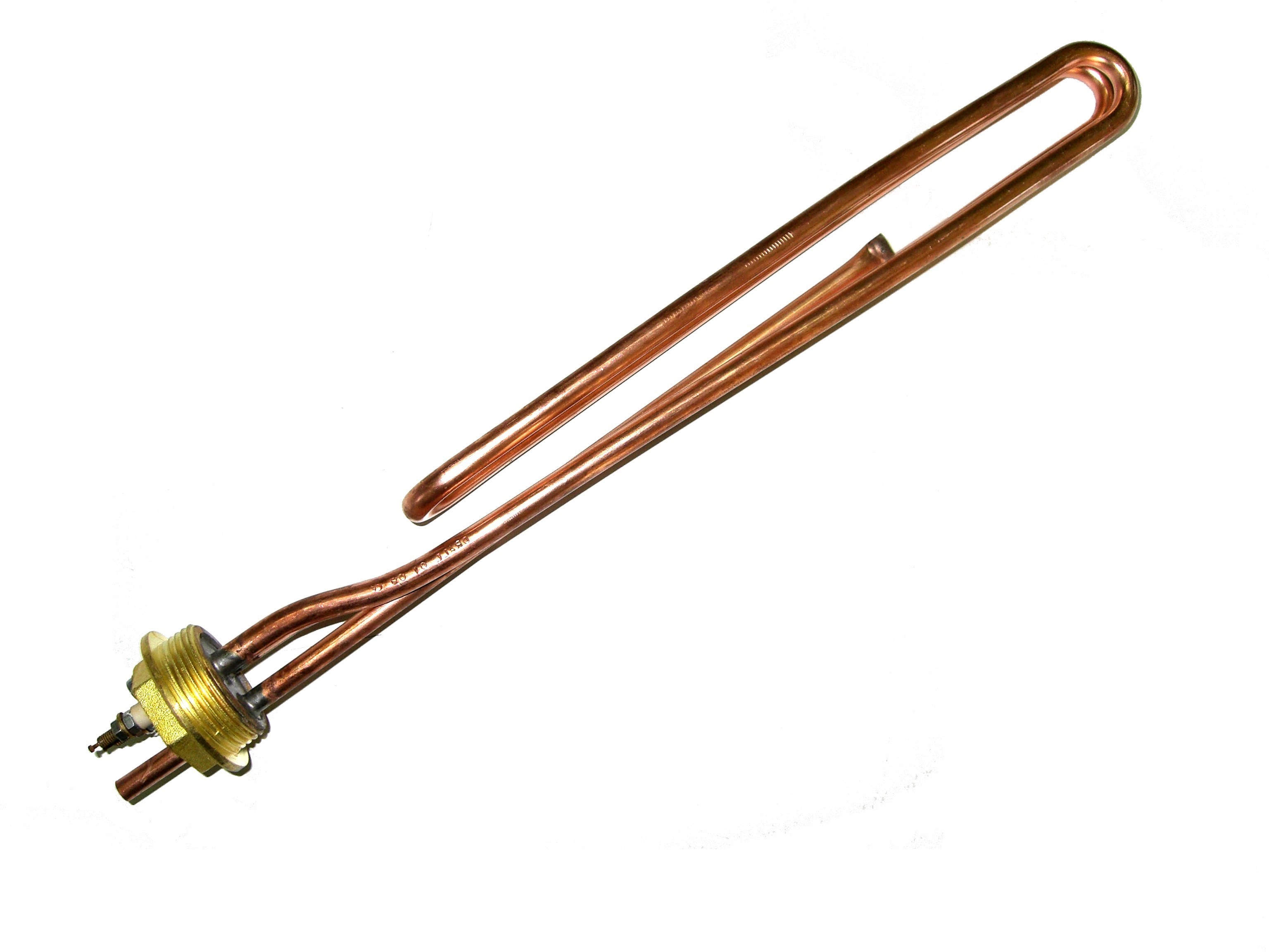 Ηλεκτρική Αντίσταση 230 V χάλκινη σε τάπα ορειχάλκινη με σπείρωμα G1 1/4″ (3 – 4 kW)